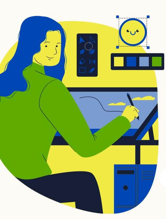 ilustration of a happy woman drawing on a tablet coping with coronavirus stress