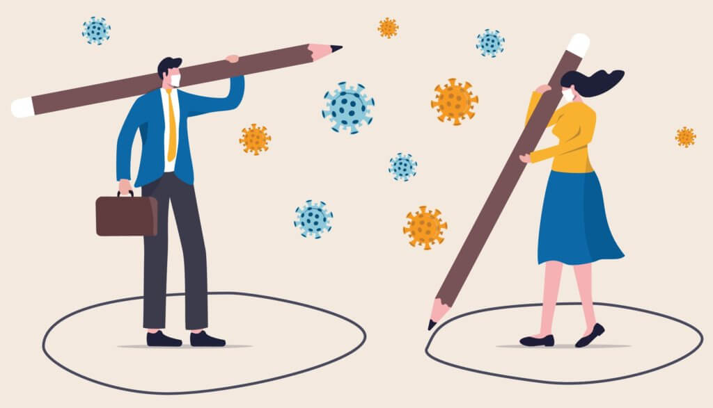 ilustration showing social distancing two coworkers keeping distance stop coronavirus