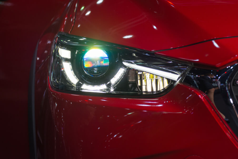 front view of a car led headlight at night