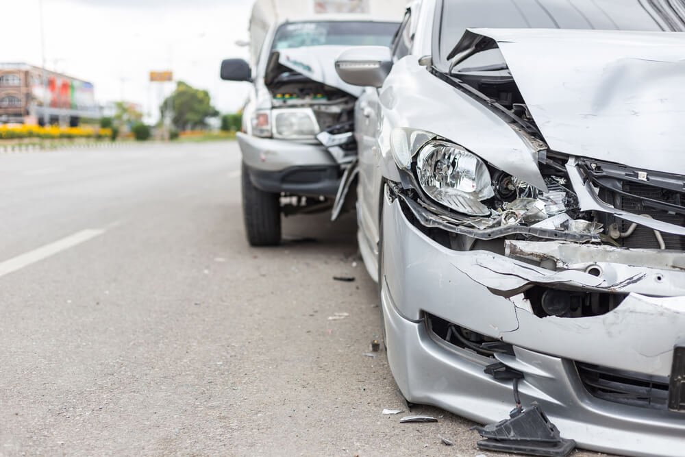 crashed cars in accident with driver needing a rental car reimbursement