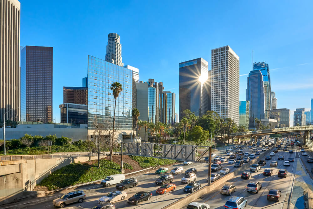 Los Angeles California downtown cityscape panorama with cars and sr22 insurance