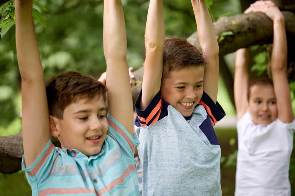 Close up of happy kids hanging on tree