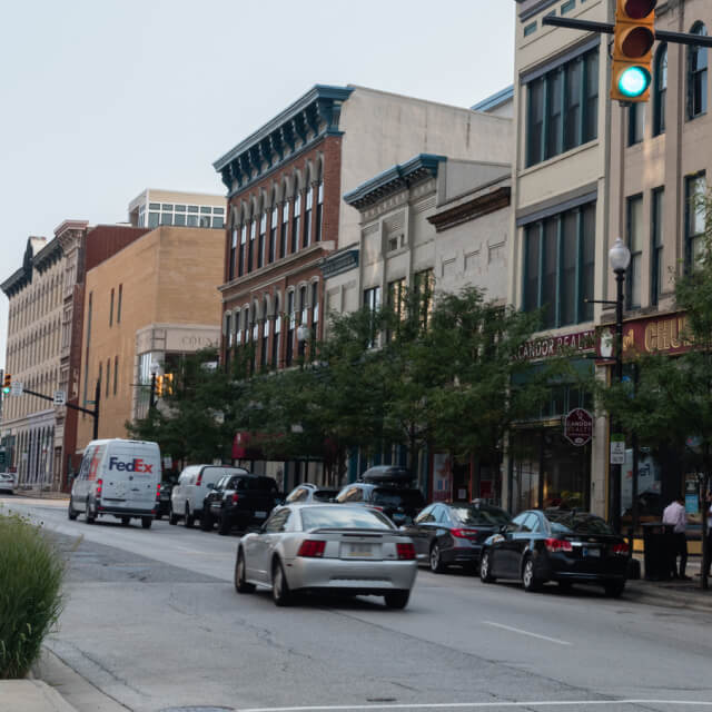 Photo of a quiet downtown street in a small town in Indiana.