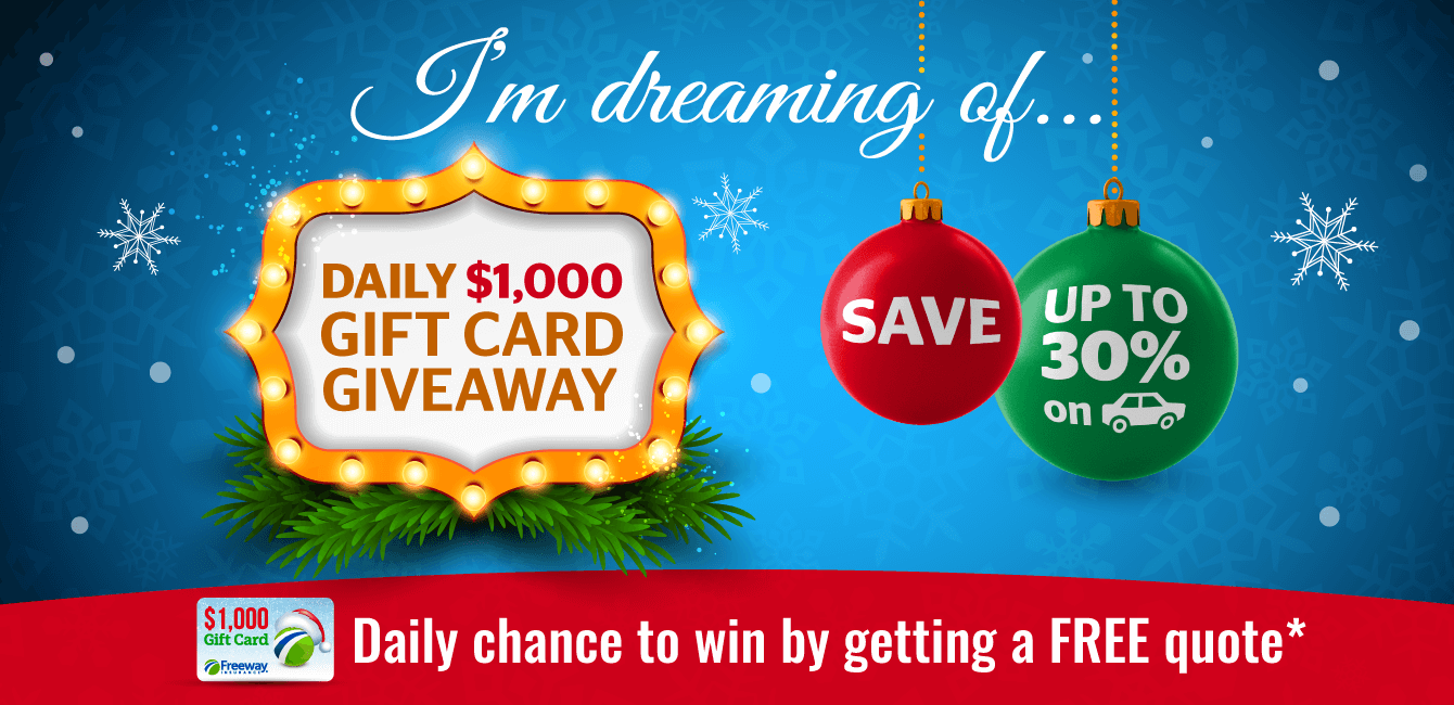 Christmas-themed promotional image. The illustration includes Christmas ornaments and reads I'm dreaming of daily $1000 gift card give away, save up to 50% on car icon. Daily chance to win by getting a free quote