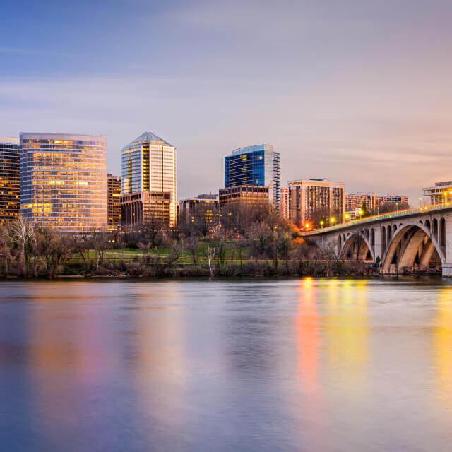 Arlington bridge and city