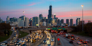 Chicago skyline and freeway at night