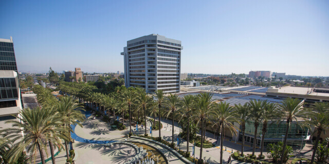 Anaheim, California office building and park with palm trees