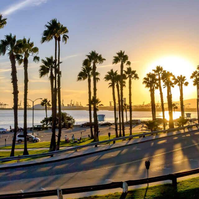 Long beach, California road next to beach