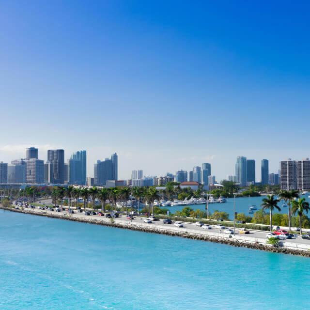 Road next to Miami, Florida beach