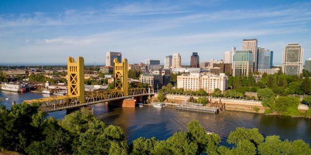 Bridge over the American River in Sacramento, California