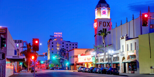 Evening view of the Fox Theater in Bakersfield