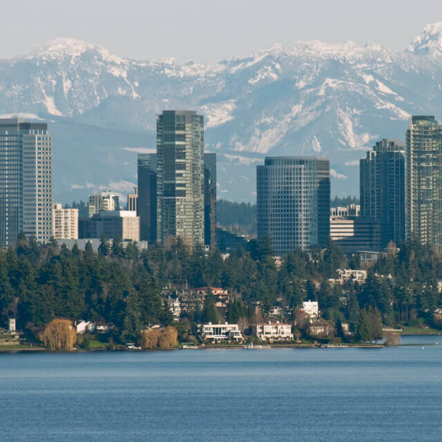 City of Bellevue between Lake Washington and Cascade Mountains in Washington state