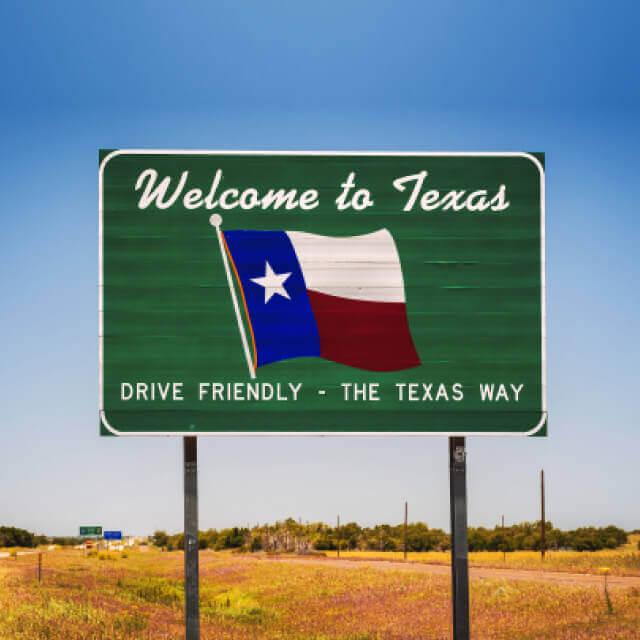 Texas roadside welcome sign