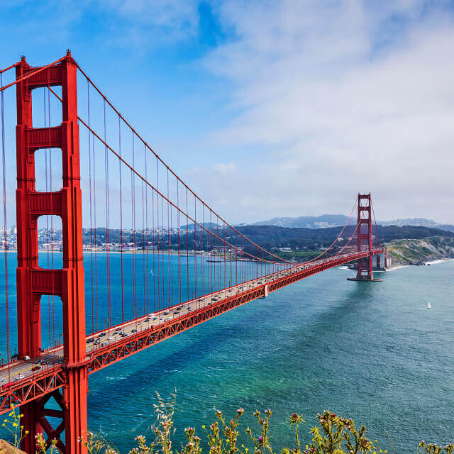Panoramic view of the golden gate bridge with cars in San Francisco, California