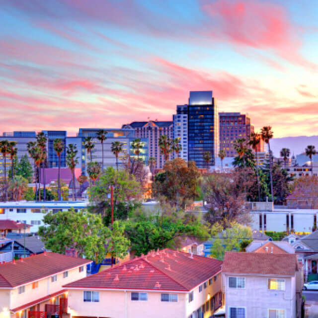 Afternoon view of the san jose California skyline