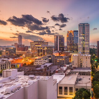Birmingham, Alabama, USA downtown cityscape at dusk