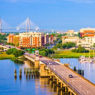 City of Charleston view of bridge and city