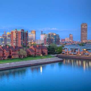Downtown Buffalo skyline along the historic waterfront district at night